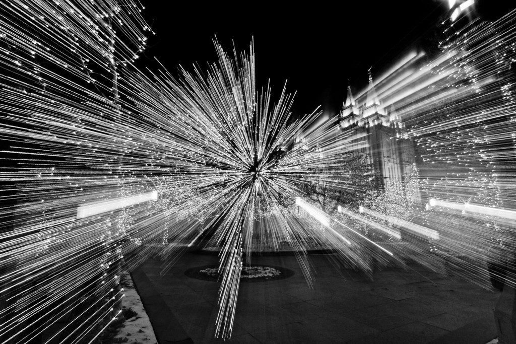 Salt Lake City Temple Christmas lights zoom, black and white