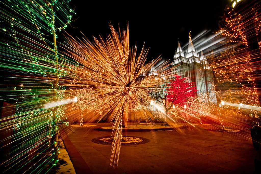 Salt Lake City Temple Christmas lights zoom