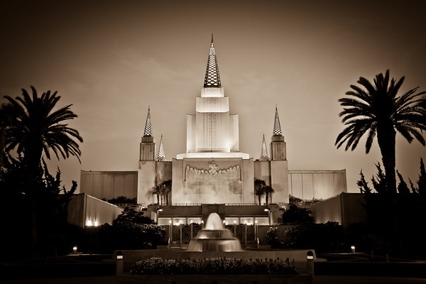 Oakland California Temple at dusk (sepia)