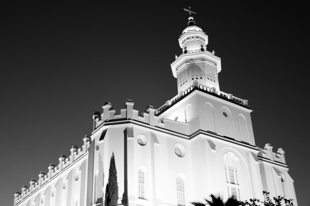 St George Temple at dusk (Black and White)