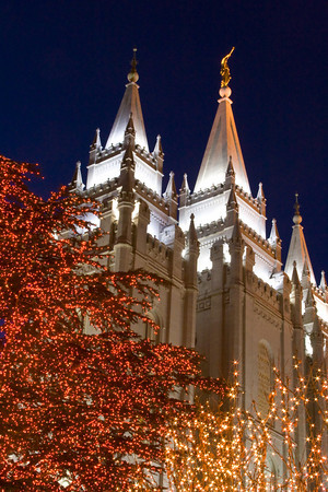 Salt Lake City Temple with Christma