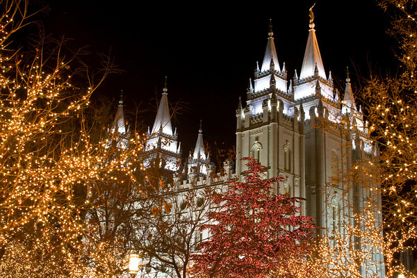 Salt Lake City Temple with Christm