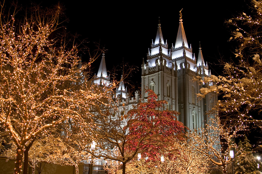 Salt Lake City Temple with Christmas lights