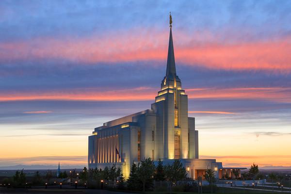 Rexburg Idaho Temple at Sunset