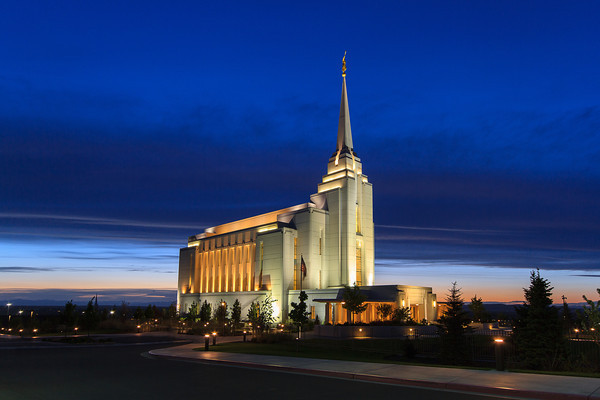 Rexburg Idaho Temple at Dusk