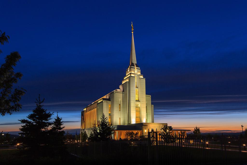 Rexburg Idaho Temple at Dusk
