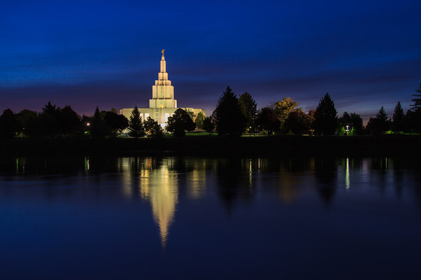 Idaho Falls Idaho Temple at Dawn with Reflection