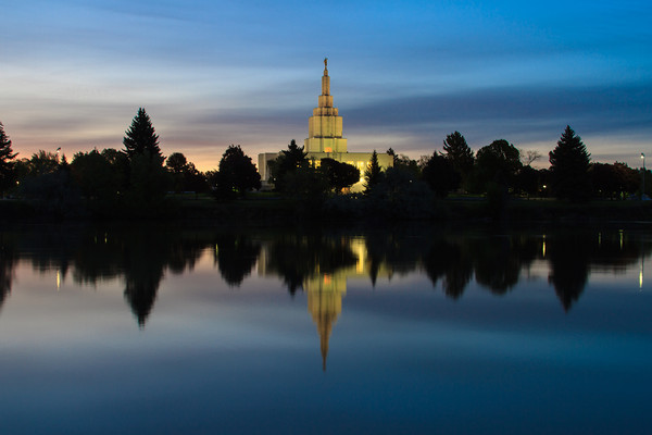 Idaho Falls Idaho Temple at Sunrise with Reflection