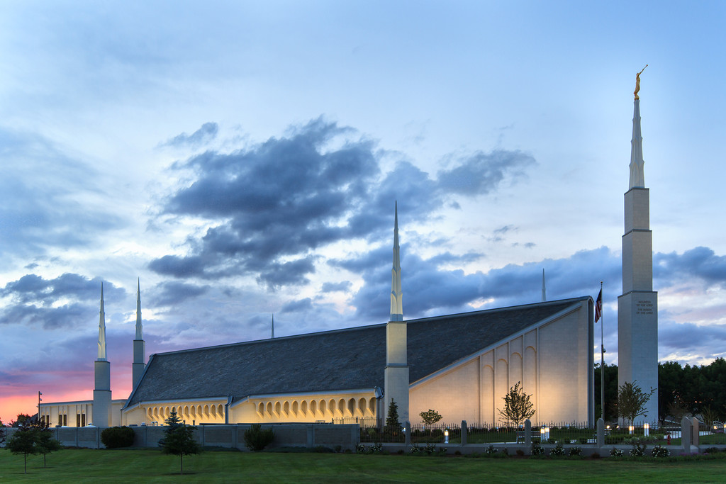 Boise Idaho Temple at Dusk