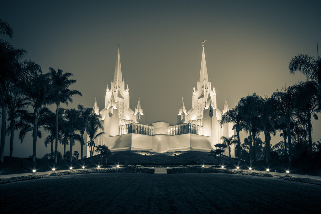 San Diego California Temple at Sunrise (sepia)