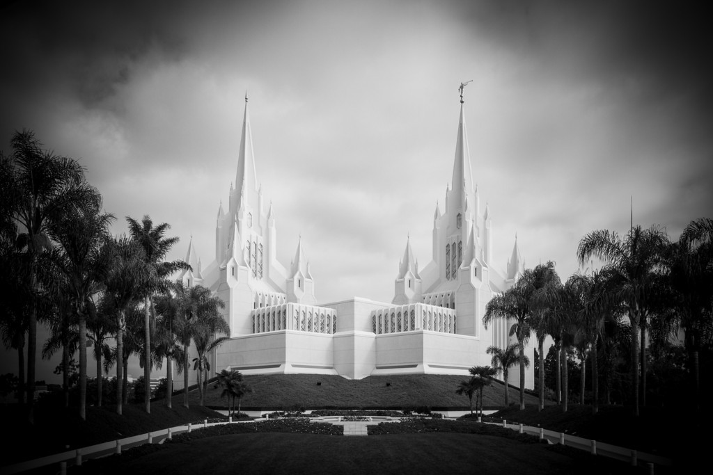 San Diego California Temple (black and white)