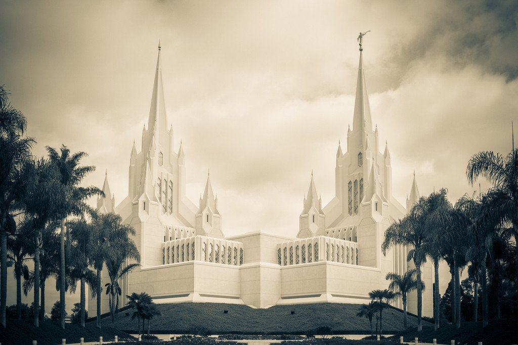 San Diego California Temple (sepia)