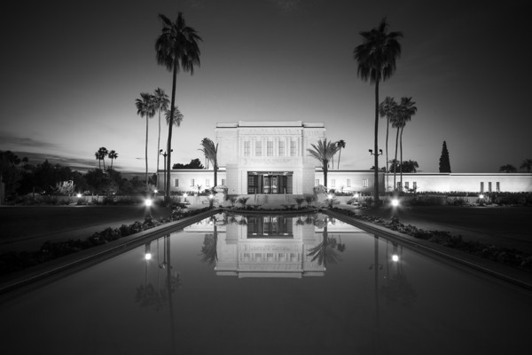Mesa Arizona Temple at Sunrise (black and white)