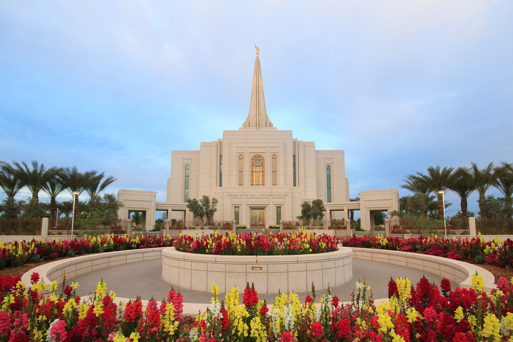 Gilbert Arizona Temple with Flowers