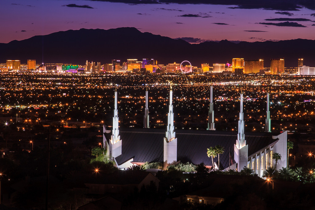 Las Vegas Temple with Skyline at Sunset
