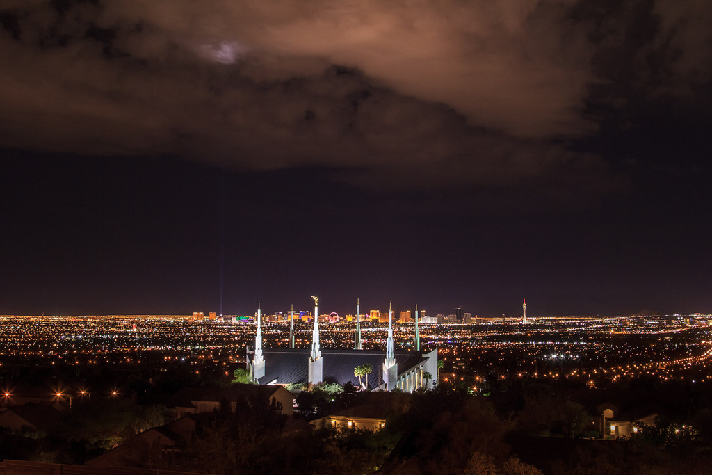Las Vegas Temple with Skyline at Night