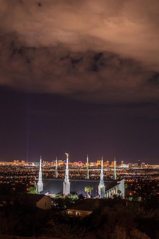 Las Vegas Temple with Skyline at Night
