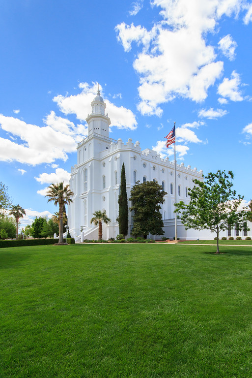 St George Temple with cloudy sky