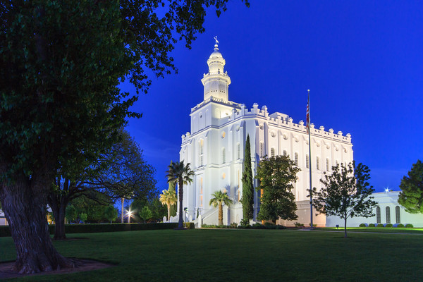 St George Temple at twilight