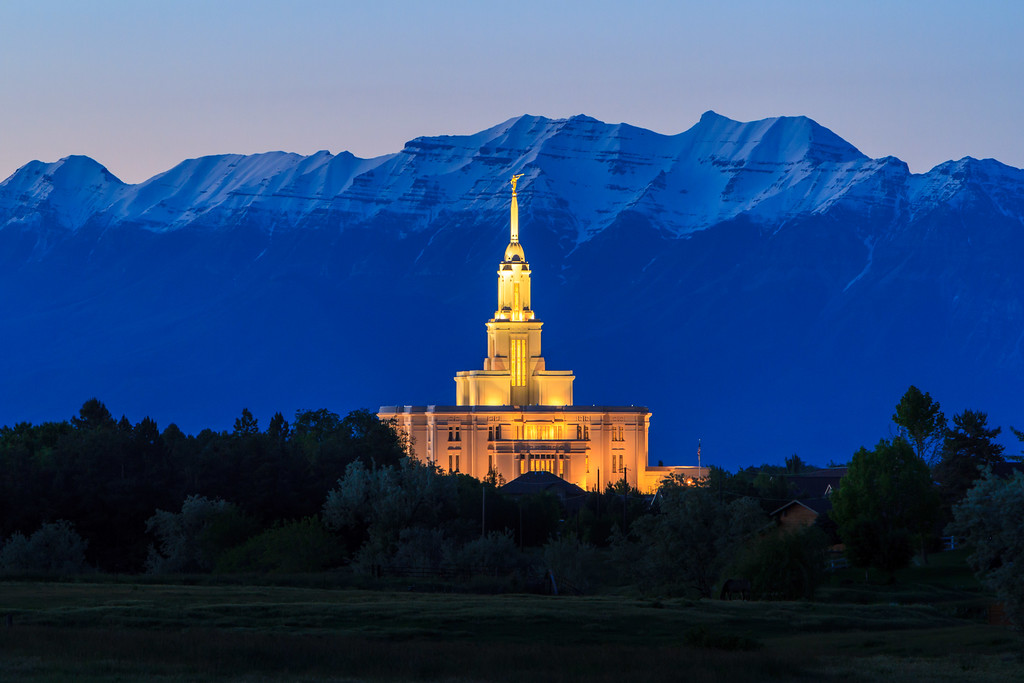 Payson Utah Temple in front of Timpanogos Mountain at Dusk