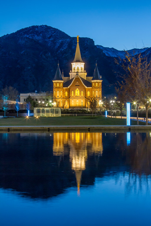 Provo City Center Temple reflection at dawn