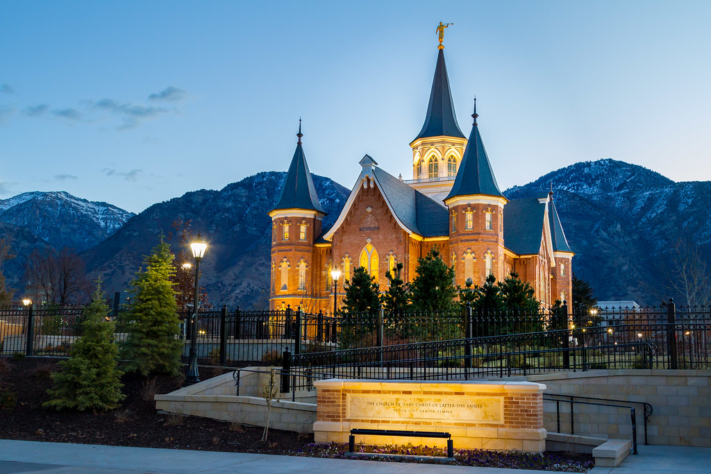 Provo City Center Temple at Sunrise with Sign