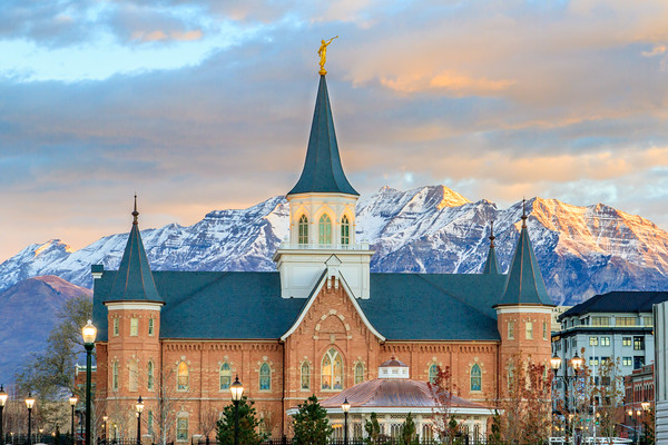 Provo City Center Temple at Sunrise in front of Timpanogos Mountain