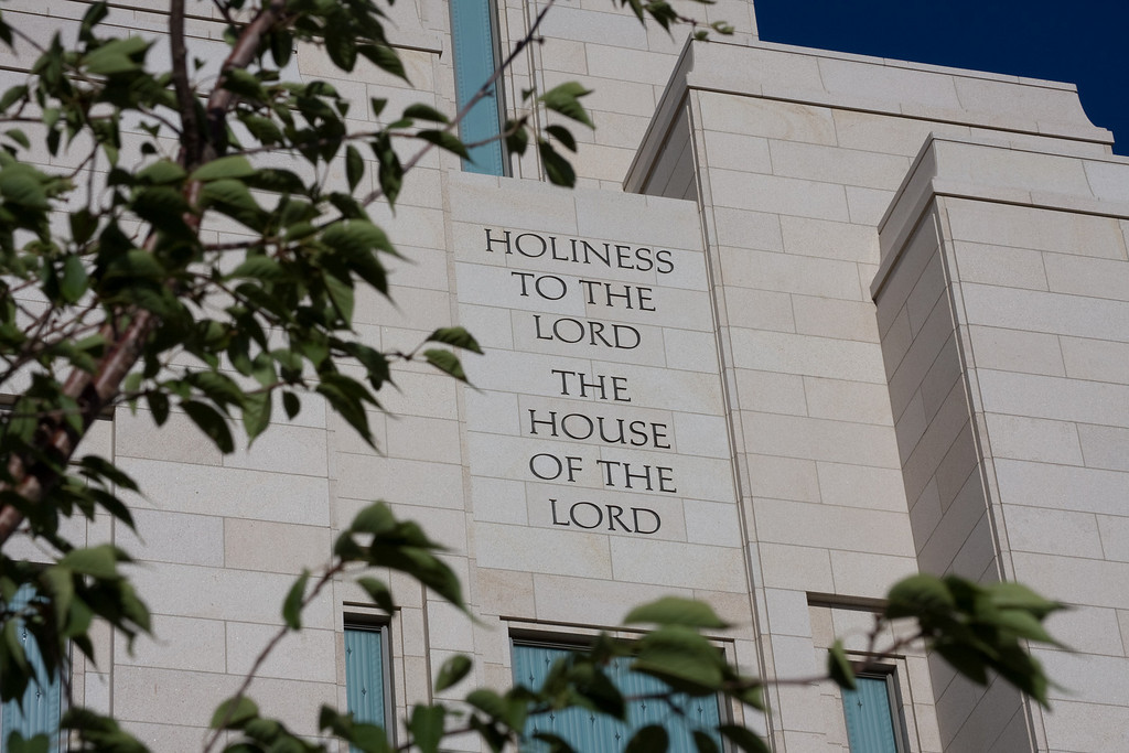 Oquirrh Mountain Temple closeup of Holiness to the Lord